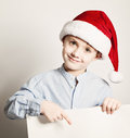 Christmas Child Showing White Banner Background Royalty Free Stock Photo