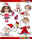 Christmas children and babies cartoon set illustration of in santa claus costume with presents Stock Image