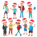 Christmas Children Set Vector. Santa Hat. Boys And Girls. Happy New Year. Isolated Cartoon Illustration