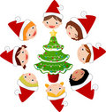 Christmas children and tree Stock Photo