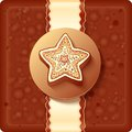 Christmas chocolate box with badge and ribbon Stock Photo