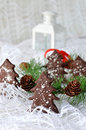 Christmas chocolate cookies tree in a gold basket on a white background decoration fir branch with fir Royalty Free Stock Photography