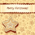 Christmas chocolate honey-cakes greetings card Stock Photo