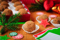 Christmas chocolate truffles in a gift box Royalty Free Stock Photography