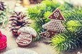 Christmas. Christmas ball pastry gingerbread pine cone and decoration. Christmas time Royalty Free Stock Photo