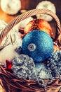 Christmas. Christmas decoration. Christmas balls, stars, jingle bells xmas ornaments. Royalty Free Stock Photo