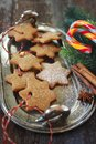 Christmas cinnamon cookies, sucking candy and New Year`s decoration Royalty Free Stock Photo
