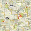 Christmas city seamless pattern vector illustration with santa Stock Photo