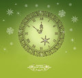 Christmas clock with bow green background illustration Royalty Free Stock Photo
