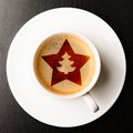 Christmas coffee cup of fresh on table view from above Royalty Free Stock Image