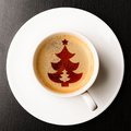 Christmas coffee cup of fresh on table view from above Royalty Free Stock Photo
