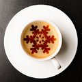 Christmas coffee cup of fresh on table view from above Stock Images