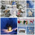 Christmas collage in blue ideas for decoration or a greeting c card with snowman latern and santa boots Stock Image