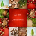 Christmas collage collection of ornaments and gingerbread cookies Stock Photos