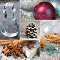 Christmas collage with different photos of symbols Royalty Free Stock Images