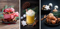 Christmas collage with eggnog and baked apple Stock Photos
