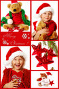 Christmas collage in red Stock Image