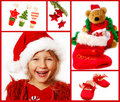 Christmas collage in red Royalty Free Stock Images