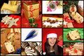 Christmas collage of some typical elements such as panettone pandoro and spumante and some ornaments there is also a santa claus Stock Image