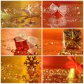 Christmas collage with star, gift, ribbon a Royalty Free Stock Photos
