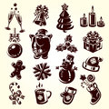 Christmas collection icons vector illustration Royalty Free Stock Photo