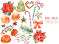 Christmas collection:sweets,poinsettia,anise,orange,pine cone,ribbons,christmas cakes Royalty Free Stock Photo