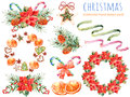 Christmas collection:wreaths,poinsettia,bouquets,orange,pine cone,ribbons,christmas cakes Royalty Free Stock Photo