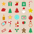 Christmas color icons on brown background stock vector Stock Photography