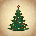 Christmas color tree on grunge background sketch hand drawn decorated vintage vector illustration Royalty Free Stock Image