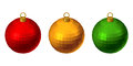 Christmas colorful balls set of three isolated on a white background Royalty Free Stock Images