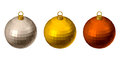 Christmas colorful balls set of three isolated on a white background Stock Photos