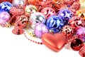 Christmas colorful decore with red hearts and red bells on a white background Royalty Free Stock Images