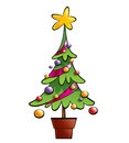 Christmas colorful pine tree decorated with ornaments and a big colourful star in pot Stock Photos