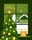 Christmas comet outside window Royalty Free Stock Photos