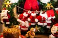 Christmas is coming! Clothes drying on the clothesline. Selective Focus Royalty Free Stock Photo
