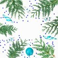 Christmas composition of branches, decoration and Christmas baubles on white background. Holiday frame, copy space. Flat lay, top Royalty Free Stock Photo