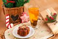 Christmas composition with cake and tea Stock Photography