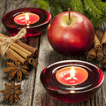 Christmas composition with candle holder and apples still life spices Stock Photo