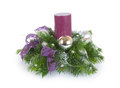 Christmas composition with candle on white background Royalty Free Stock Photo