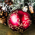 Christmas composition with decorations on dark wooden backgro big red ball and background merry and happy new year card Stock Images