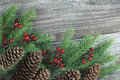 Christmas composition with fir cones and holly berries Royalty Free Stock Image
