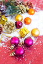 Christmas composition with garland balls and bumps new year Royalty Free Stock Photos
