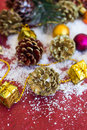 Christmas composition with garland balls and bumps new year Stock Photo