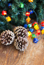 Christmas composition with garland and bumps new year Stock Images