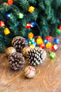 Christmas composition with garland and bumps new year Stock Photography