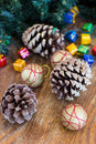 Christmas composition with garland and bumps new year Royalty Free Stock Photography