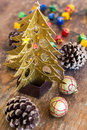 Christmas composition with garland and bumps new year Royalty Free Stock Photo