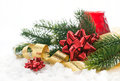 Christmas composition with gift bow ribbon and branch of christ tree Stock Photo