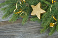 Christmas composition with a golden decorations Royalty Free Stock Photo