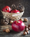 Christmas composition with pomegranates walnuts and pine cones on wooden background Stock Images